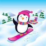 雪板运动企鹅 免版税库存图片