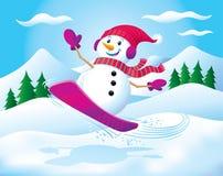 雪板运动雪人在天空中 免版税库存照片
