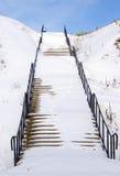 雪楼梯 库存图片