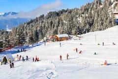 雪橇在滑雪胜地维拉尔-格里翁-莱迪亚布勒雷跑在瑞士 免版税库存照片