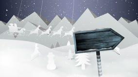 雪橇的圣诞老人与驯鹿飞行和箭头签字在纸被删去的风景 向量例证