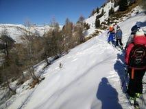 滑雪游览小组在利维尼奥 免版税库存图片