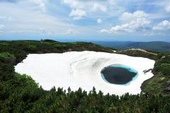 雪熔化和蓝色水池 免版税库存照片
