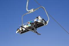 滑雪电缆车在雍Pyong韩国 免版税库存照片