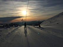 滑雪电缆车特吕西尔 库存图片