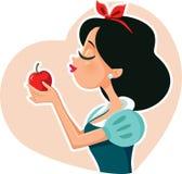 雪白公主Holding Red Poison苹果计算机 库存图片