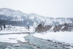 雪白川町去,日本 免版税库存图片