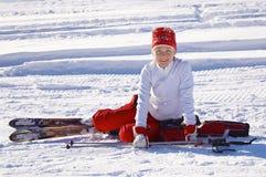 雪白纵向的滑雪 图库摄影
