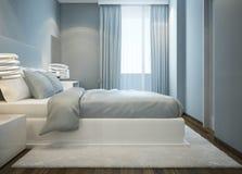 雪白色床在蓝色卧室 库存例证