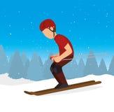 滑雪的下坡人极端体育 免版税库存照片