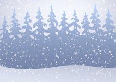 雪的冬天森林 平的背景传染媒介例证 免版税库存图片