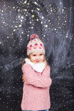 从雪的女孩皮 库存照片
