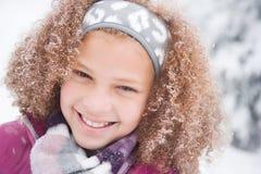 雪的女孩 库存图片