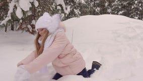 雪的愉快的女孩少年在具球果树丛背景的冬天森林里 股票录像