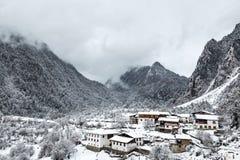 雪的村庄 库存图片