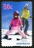 滑雪的澳大利亚邮票 免版税库存照片