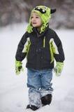 雪的男孩 免版税图库摄影