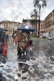 雪的罗马在反常春天 库存图片