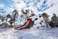 雪的耶路撒冷公园 免版税图库摄影