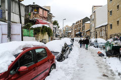 雪的耶路撒冷 免版税库存图片