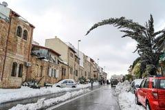 雪的耶路撒冷 免版税库存照片