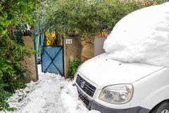 雪的耶路撒冷 库存图片