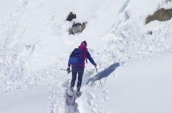 雪的远足者 免版税库存照片