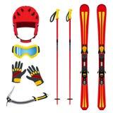 滑雪的,雪板运动,远足在平的vect的山设备 免版税库存图片