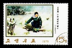 雪的,韩国绘画serie妇女,大约1975年 库存图片