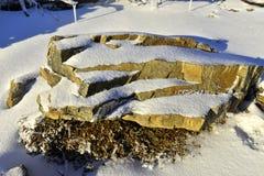 雪盖的岩石在yushan国家公园台湾 免版税库存照片