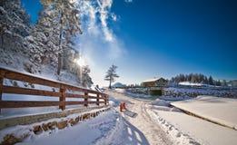 雪盖的窄路在乡下 与下雪的树、路和木篱芭的冬天风景 在村庄的冷的冬日 库存照片