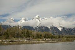 雪盛大Tetons国家公园加盖的山  免版税库存照片