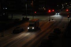 雪秋天夜 库存照片