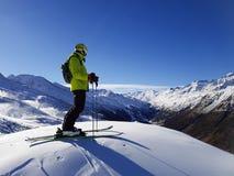 滑雪者在高阿尔卑斯,奥地利/意大利/法国 免版税库存照片