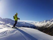 滑雪者在高阿尔卑斯,奥地利/意大利/法国 免版税库存图片