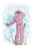 滑雪者女孩 五颜六色的例证 拉长的例证 12月 冬天 免版税库存照片