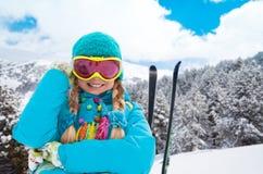 滑雪者画象  免版税库存照片