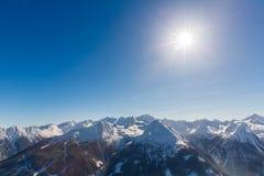 滑雪胜地在冬天多雪的山的坏Gastein,奥地利,土地萨尔茨堡 免版税库存照片
