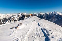滑雪胜地在冬天多雪的山的坏Gastein,奥地利,土地萨尔茨堡 免版税图库摄影
