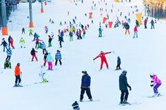 滑雪胜地场面 库存照片