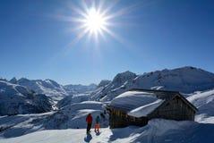 滑雪胜地莱希河, Voralberg,奥地利 库存照片