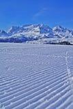 滑雪胜地,多雪的moutains 库存照片