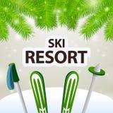 滑雪胜地滑雪和杆 库存照片