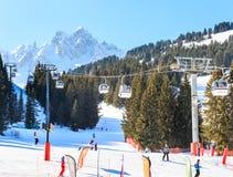 滑雪胜地Courchevel 1850 m冬天 库存图片