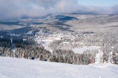 滑雪胜地Kopaonik,塞尔维亚,山景,用雪盖的房子全景  免版税库存图片