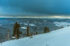 滑雪胜地Sheregesh, Tashtagol区,克麦罗沃地区,俄罗斯 库存照片