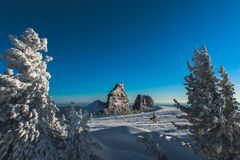 滑雪胜地Sheregesh, Tashtagol区,克麦罗沃地区,俄罗斯 免版税库存照片