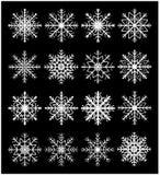 雪花剪影象,标志,设计集合 冬天,圣诞节在黑背景的传染媒介例证 库存图片