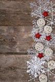 雪花和圣诞节装饰边界  免版税图库摄影