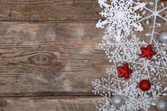 雪花和圣诞节装饰边界  库存图片